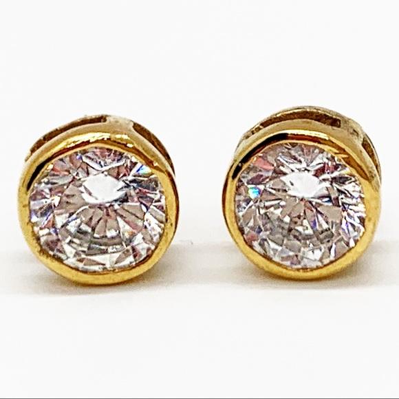 Jewelry - 925 STERLING SILVER GOLD VERMEIL CRYSTAL EARRINGS